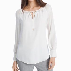 WHBM Elizabeth white peasant blouse